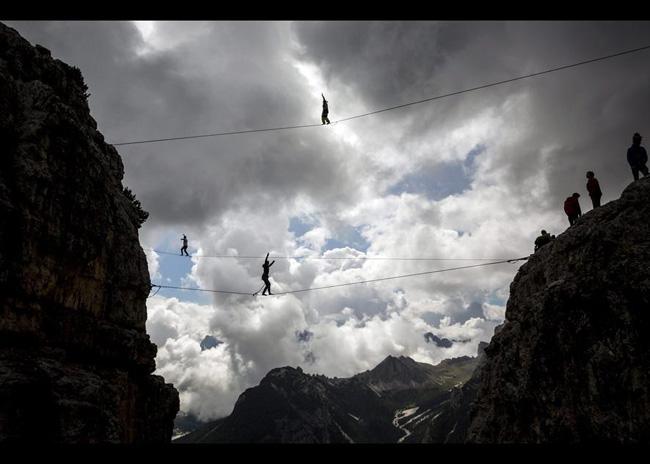 Alplerin zirvesine hamak kurdular