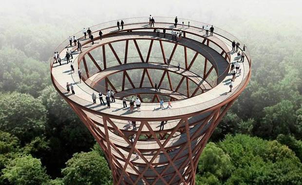 Danimarka'da ormana spiral kule inşa ediliyor