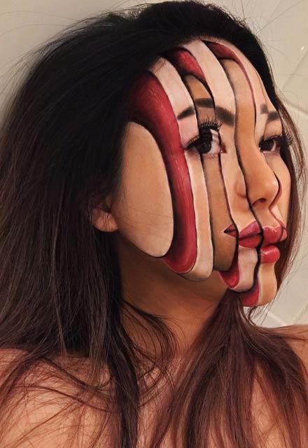 Makyajla canlı halüsinasyonlar yaratıyor