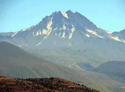 Erciyes'in karı eridi,  'Allah' yazısı gözüktü