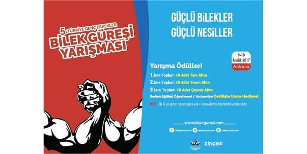 5'İnci Türkiye Genç Erkekler Bilek Güreşi Yarışması Ankara'da Düzenleniyor