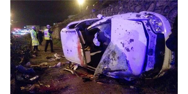 Otomobil 20 Metrelik İstinat Duvarından Düştü: 1 Ölü, 3 Yaralı