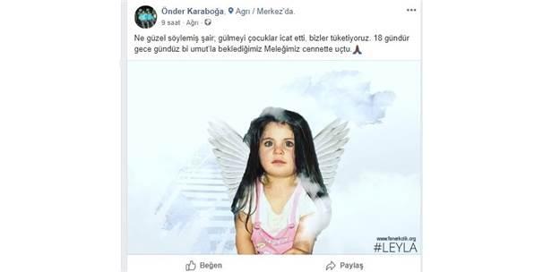 """Ünlü Futbolcudan Yeğeni Leyla İçin """"Cennete Uçtu"""" Paylaşımı"""