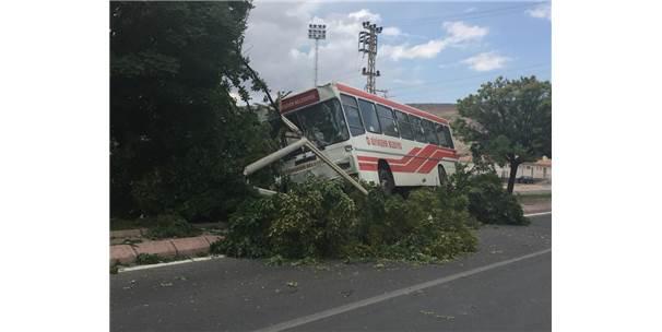 Yolcu Otobüsü Refüje Çıktı