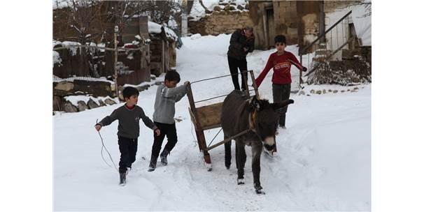 Ahlat'ta Çocuklar Kızaklarla Ot Taşıyor