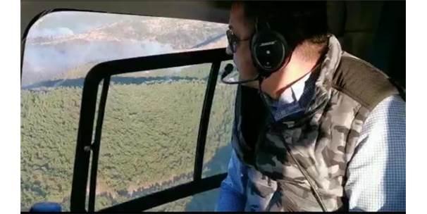 Bakan Pakdemirli, İzmir'deki Orman Yangını Bölgesini Havadan İnceledi