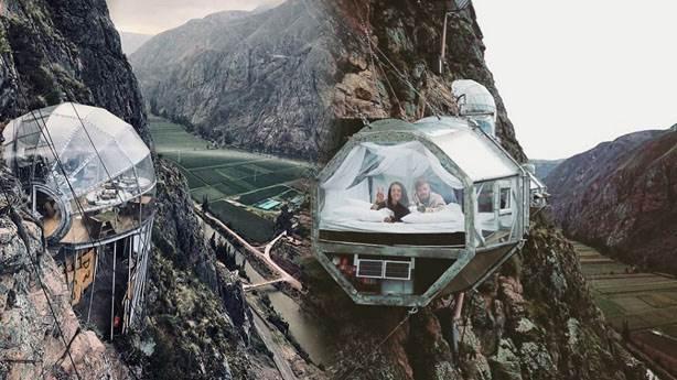 Peru'da uçurum kenarındaki Skylodge odaları tatil anlayışını değiştiriyor