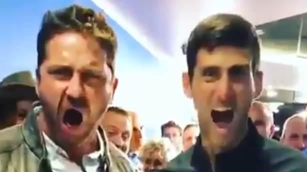 Djokovic, şampiyonluklarını Gerard Butler'la kutlamaya alıştı