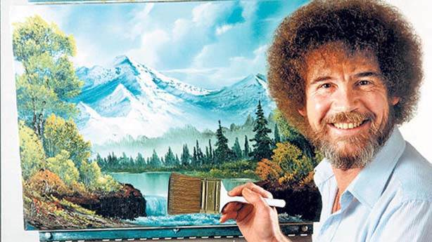Şuraya küçük mutlu bir ressam çiziyoruz: Bob Ross'un sergisi yakında