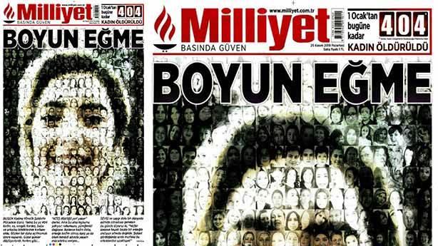 Milliyet'in 25 Kasım tarihli manşeti