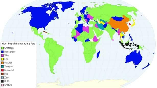 Ülkelerin kullandığı mesajlaşma uygulaması