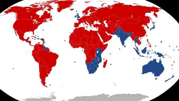 Trafiği soldan akan ülkeler