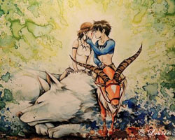 Miyazaki filmleri suluboya tablosu oldu