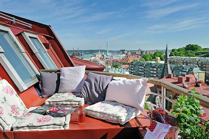 Sweden apartment design 10 square meter roof terrace view. f.