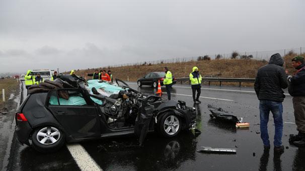 TEM'de 5 araç arka arkaya kaza yaptı: 1 ölü, 4 yaralı