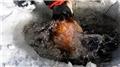 Eskimo usulü avcılıkta sezonun en büyük balığını yakaladı