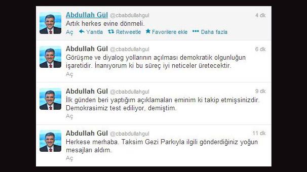 """Gül'den Gezi açıklaması: """"Artık herkes evine dönmeli"""""""
