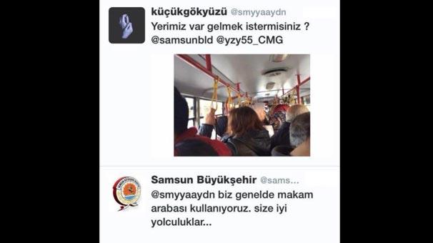 Samsun Belediyesi'nin Twitter hesabından şoke eden cevap