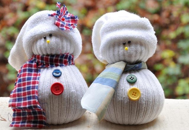 Çoraptan kardan adam yapımı