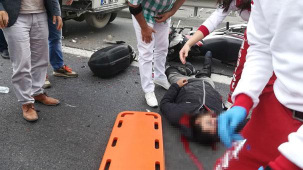 TEM'de kamyonete çarpan motosikletin sürücüsü öldü