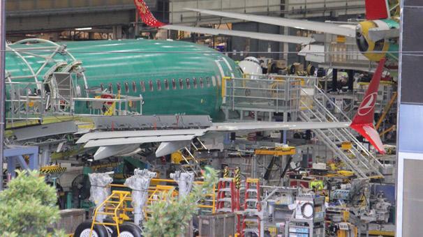 THY'nin ilk Boeing 737 MAX 8 uçağı imalat hattında görüntülendi