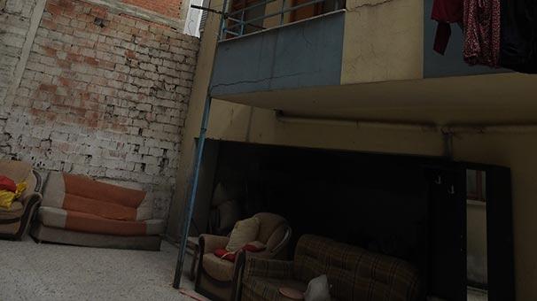 Eşiyle tartışan kadın, 5'inci kattan kanepeye düştü
