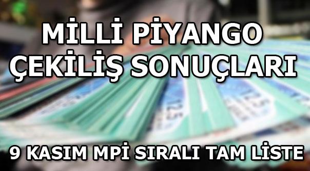 Milli Piyango 9 Kasım çekiliş sonuçları! MPİ 9 Kasım sıralı tam liste