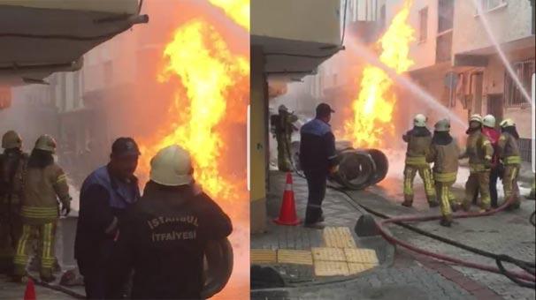 Son dakika: Bağcılar'da panik!  Doğal gaz borusu patladı...