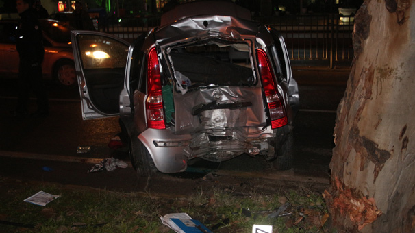 In the vehicle that hit the pole, one person died and two