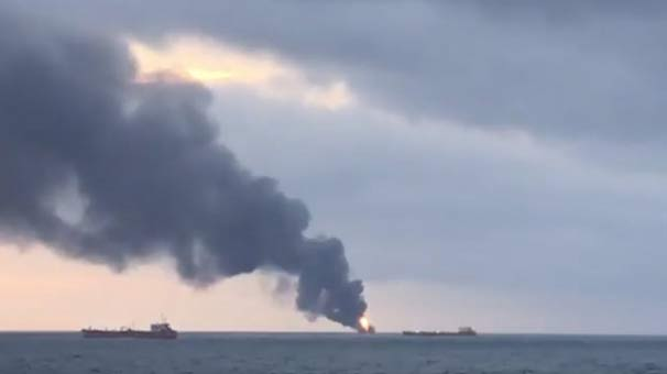 Son dakika | Kerç Boğazı'nda iki gemi alev aldı! Gemilerde Türkler de var...