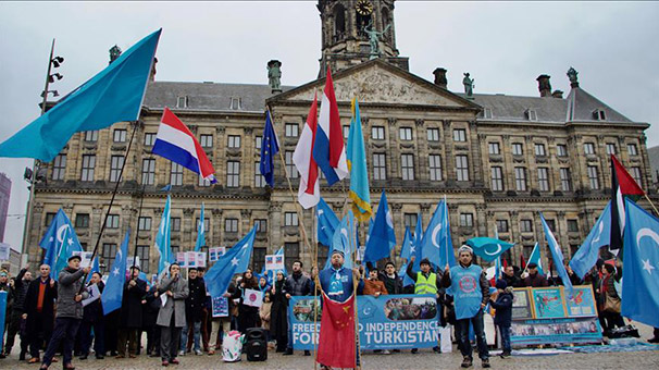 Hollanda'da Doğu Türkistan protestosu