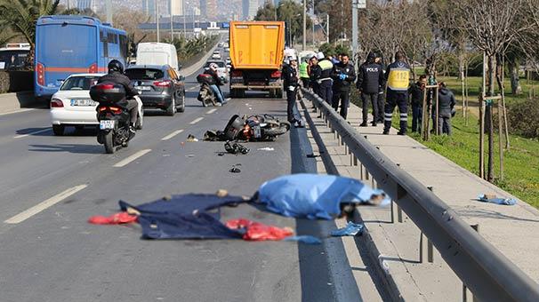 Motosiklet sürücüsünün korkunç ölümü